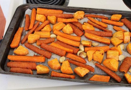 zanahoria y patata dulce asada